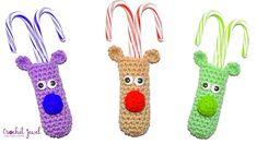 Crochet Reindeer Candy Cane Holder (Free Pattern) Christmas Crochet Patterns, Holiday Crochet, Christmas Knitting, Crochet Pouch, Crochet Gifts, Knit Gifts, Crochet Things, Crochet Santa Hat, All Free Crochet