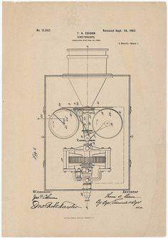 "T.A. Edison's ""Kinetoscope"" Patent drawing1902 #patentdrawing  #PatentDrawing"