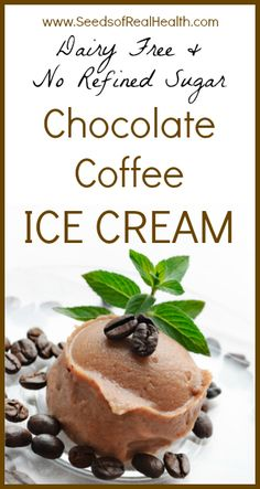 Chocolate Coffee Ice Cream - Dairy Free and No Refined Sugar - Seeds Of Real HealthSeeds Of Real Health Paleo Dessert, Low Carb Desserts, Frozen Desserts, Gluten Free Desserts, Dairy Free Recipes, Vegan Desserts, Healthy Desserts, Just Desserts, Real Food Recipes
