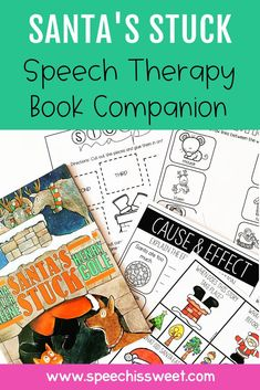 Speech Therapy Book Companion for Santa's Stuck: Santa's Stuck is a wonderful book companion to use for Christmas themed speech therapy! This book companion addresses comprehension, sequencing, story elements, vocabulary, grammar, rhyming, emotions, inferencing, and much more! Your students will love using this picture book in therapy! | Speech is Sweet Speech Language Therapy, Speech Therapy Activities, Speech And Language, Christmas Speech Therapy, Story Elements, Interactive Notebooks, Therapy Ideas, Comprehension, Grammar