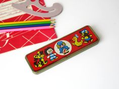 Soviet Vintage Pencils Case, Metal Pencil Box, Retro School Accessory, Red, Vintage Tin Box by LittleRetronome, $17.00