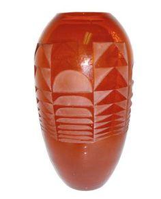 French Art Deco Geometric Design Vase by Jean Luce   Modernism