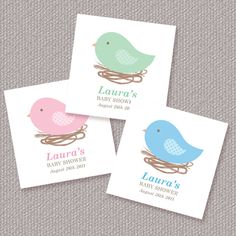 Bird Nest Baby Shower Favor Tags or Stickers Personalized Printable (Digital File). $7.00, via Etsy.
