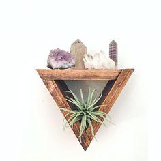 Triangle Shelf - Stackable Small Triangles - Crystal Shelf - Shadow Box - Wood Shelf - Floating Shelf - Wall Shelf - Crystal Altar