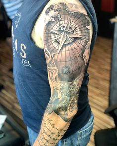 Rich's nautical/family themed sleeve we've been working on, two days down so far and loving the progress! Keep the Black and grey coming…