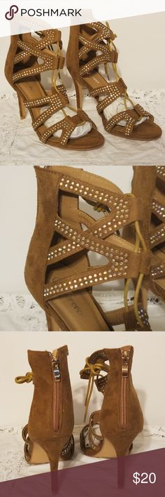 "Lace up caged cutout heels rhinestones Brown New!  Forever Link Lace Up Faux Suede strappy cut out stiletto ankle heels shoes sandals encrusted with rhinestones.  Brown/Tan/Camel. Zip up back.  Details:  Designer:  Forever Link Style: Kyra-37 Material: Man made materials 4"" Heels The shoes are new in box, but will ship without box so that the shoes will fit in a USPS priority mail shoe box. Forever Link Shoes Heels"
