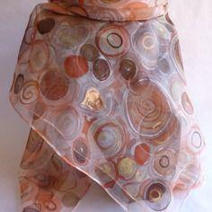 """Foulard écharpe en mousseline de soie peint main """" terre australe """""""