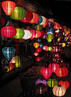 Hoi An Vietnam Lanterns would look great mixed in with string lights for a garden party!
