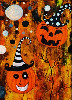 Halloween Pumpkin Trees Orange Black Haunted House Mixed Media Painting. $250.00, via Etsy.
