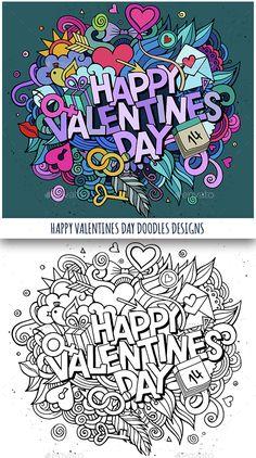 2 Happy Valentines Day Doodles Design