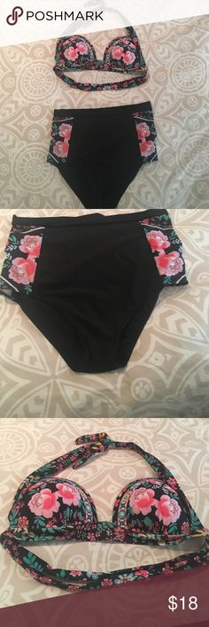 Modcloth high waisted bikini- never worn! High waisted floral bikini. Bottoms are full coverage, solid black with floral panel on each side. Top is full floral print, standard triangle bikini with ties at the top and back, and cups to line the front. Never worn! ModCloth Swim Bikinis