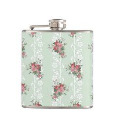 Vintage Girly Pink Floral Hip Flasks
