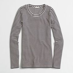 J.Crew Factory striped ribbed long-sleeve T-shirt ($22) ❤ liked on Polyvore featuring tops, t-shirts, j crew t shirts, striped long sleeve t shirt, striped tee, long sleeve ribbed tee and rib tee
