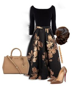A fashion look from October 2015 featuring Christian Louboutin pumps, Michael Kors tote bags y Deepa Gurnani hair accessories. Browse and shop related looks. Apostolic Fashion, Modest Fashion, Fashion Dresses, Mode Outfits, Skirt Outfits, Classy Outfits, Casual Outfits, Summer Outfits, Casual Mode