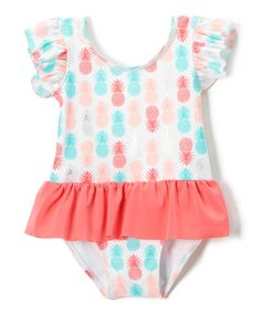 Take a look at this Sol Swim Pink & Blue Sugar Pineapples Skirted One-Piece - Infant & Toddler today!