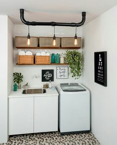 Browse laundry room ideas and decor inspiration for small spaces. Custom laundry rooms and closets, including utility room organization & storage ideas. Laundry Room Lighting, Laundry Room Shelves, Laundry Room Organization, Laundry Room Design, Laundry Decor, Basement Laundry, Sweet Home, Diy Casa, Room Interior