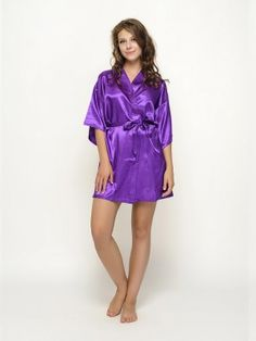 Gorgeous and beautiful satin robes , a perfect gift for you and your girls for the wedding day !Each robe has an outer belt to make the robe adjustable in size. Purple Satin, Bridesmaid Robes, Looking Stunning, Your Girl, Plum, Casual, Beautiful, Dresses, Fashion