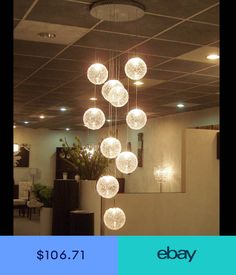 ceiling lights on sale at reasonable prices, buy Round Ball Ceiling Lights high quality Large Long Stair 10 Lights lustres de teto Glass Upscale atmosphere from mobile site on Aliexpress Now! Living Room Light Fixtures, Living Room Lighting, Home Lighting, Modern Lighting, Pendant Lighting, Light Pendant, Pendant Lamps, Stair Lighting, Stained Glass Chandelier