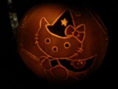Hello Kitty - Witch Costume - Lit - Halloween Pumpkin - Jack-o-lantern