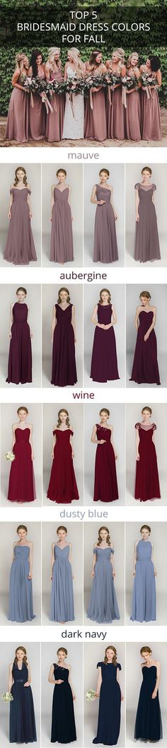 top 5 bridesmaid dress colors for fall weddings brautjungfern Fall Bridesmaid Dresses, Wedding Bridesmaids, Wedding Dresses, Bridesmaid Color, Wedding Flowers, Bridal Gowns, Bridesmaid Ideas, Bridesmaid Gifts, Casual Bridesmaid