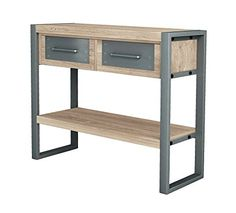 Buy Asta Industrial Modern Teak & Iron Storage Console Table at online store Iron Console Table, Iron Storage, Concrete Wood, Iron Furniture, Metal Drawers, Contemporary Furniture, Modern Contemporary, Modern Industrial, Teak