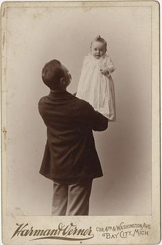 +~+~ Antique Photograph ~+~+ Such a Proud Poppa and a pose that Dads have being doing with their kids forever!