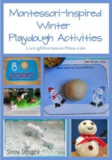 Montessori-Inspired Winter Playdough Activities - roundup post with lots of recipes and playdough/snow dough ideas