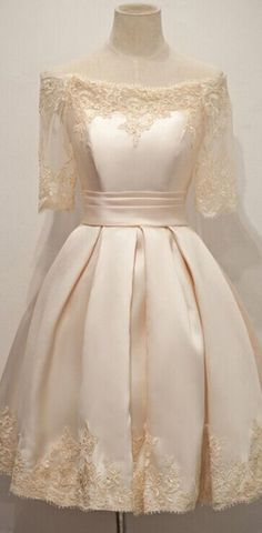 Newest boat neck short sleeves lace homecoming dresses,sparkly knee length simple cheap homecoming dress,modest cocktail dresses,beauty graduation dresses Dresses For Teens, Trendy Dresses, Modest Dresses, Elegant Dresses, Nice Dresses, Short Dresses, Fashion Dresses, Dresses With Sleeves, Formal Dresses