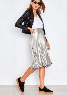 Kati Silver Pleated Midi Skirt Missy Empire