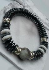 Hematite disc beads & Links Of London sterling silver rings bracelet medium NEW