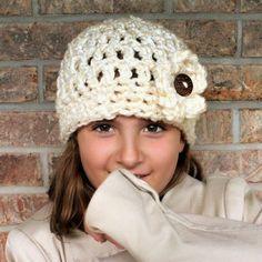 Crochet Chunky Flower Button Hat Pattern
