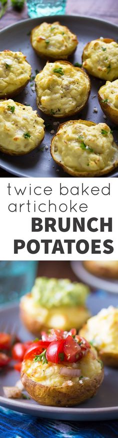 Twice Baked Artichoke Brunch Potatoes, an easy make-ahead breakfast or brunch recipe that is perfect for the holidays!