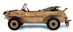 1943 Volkswagen 166 SCHWIMMWAGEN - A military, amphibious vehicle based on the KdF Wagen (Kraft durch Freude) designed by Ferdinand Porsche, which in turn would later become the famous Volkswagen Beetle. This Schwimmwagen has a retractable screw at the rear. When used in water, it was coupled to a shaft connected to the rear-mounted engine. The exhaust was mounted high on the car so that water could not enter. A spade and paddles (!) were included as standard equipment.