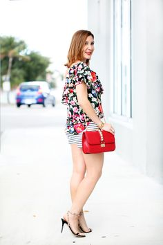 Blame it on Mei Miami Fashion Blogger 2016 How to Mix Prints Florals and Stripes Casual Outfit Summer Look Floral One Shoulder Top with Striped Shorts  Baublebar Pinata Tassels Valentino Rockstuds Sandals How to Mix Patterns