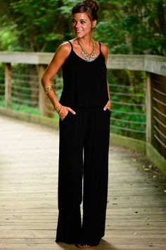 """The Windy City Jumpsuit, Black. Perfect for when I want to """"dress up"""" at night without dressing up!"""