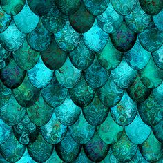 Dark Teal Mermaid or Dragon Scales, after Fabergé, by Su_G fabric by su_g on Spoonflower - custom fabric