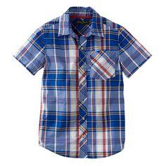 NWT Bigger Boys Eddie Bauer Plaid Woven Button-Down Short Sleeve Shirt L (14/16) #EddieBauer #Everyday