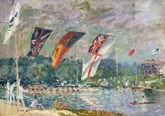 Regatta At Molesey Painting by Alfred Sisley
