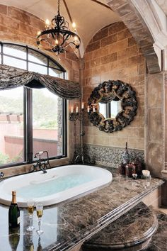 Beautiful Bathroom Design  Love The Wide Ledge Around The Tub With Plenty  Of Room To Place Bath Essentials Like Candles And Wine. Part 74