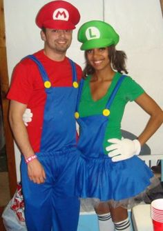 Couples Halloween costumes - Mario and Luigi  sc 1 st  Pinterest & Homemade Mario and Luigi Tutu Costumes | All the Tulle | Pinterest ...