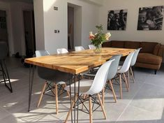 Omni Dining Table with Hairpin Legs - Free Delivery Hairpin Dining Table, Reclaimed Dining Table, Dining Table Legs, Wooden Tables, 10 Person Dining Table, Dining Room, Console Table, Dining Area, Hairpin Legs