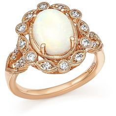 Opal and Diamond Ring in 14K Rose Gold ($1,670) ❤ liked on Polyvore featuring jewelry, rings, round diamond ring, diamond rings, 14 karat gold ring, cabochon ring and opal rings