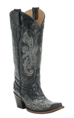 Corral Distressed Black with Studs & Crystals Snip Toe Western Boot