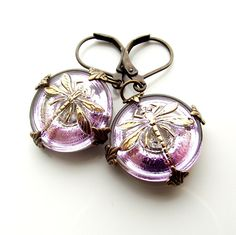 dragonfly earrings  purple and gold dragonfly by jinjajewellery, £10.00