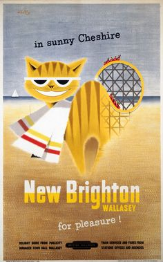 Vintage Travel Poster - New Brighton - Wallasey, for Pleasure! - UK .by Felix Kelly, 1954.