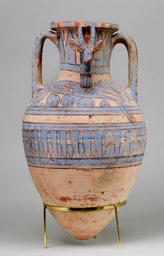 Blue-Painted Ibex Amphora from Malqata. Ca. 1390–1353 B.C., Egypt, Upper Egypt; Thebes, Malqata. This vese in excellent condition was found during the excavations of the palace of Amenhotep III