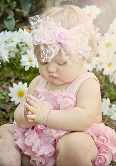 Infant Pink Rosette Romper & Lace Rosette Headband 3 to 24 Months Little Babies, Little Ones, Cute Babies, Little Girls, Precious Children, Beautiful Children, Beautiful Babies, Baby Kind, Baby Love