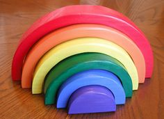 Stacking Rainbow Children's Puzzle Handmade by PawPawsWorkshop
