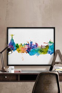Rio de Janeiro skyline, Rio de Janeiro watercolor, Art Print, Rio poster, Art, Brazil cityscape, City Wall art, Artwork, Print, Home Decor