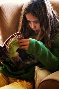 The girl who was the model for the cover reading Arabella.